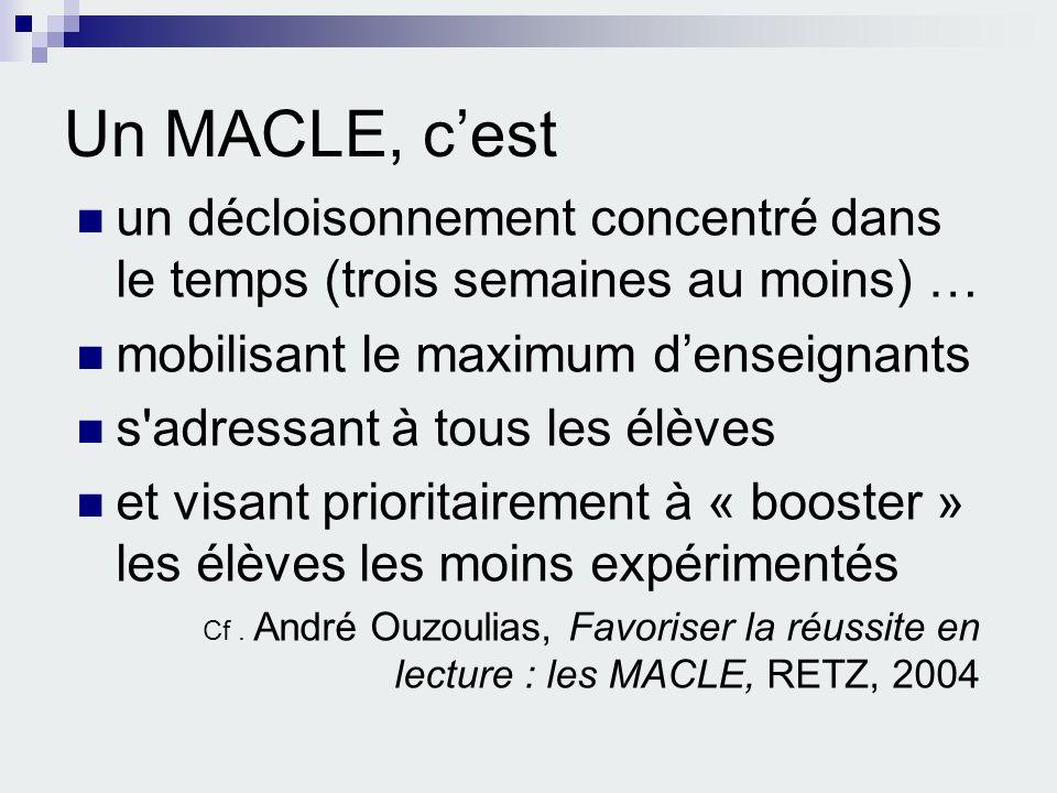 Un MACLE, c'est un décloisonnement concentré dans le temps (trois semaines au moins) … mobilisant le maximum d'enseignants.