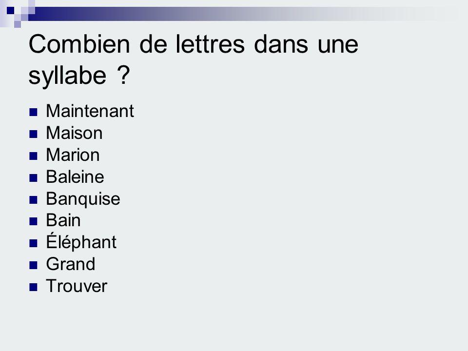 Combien de lettres dans une syllabe