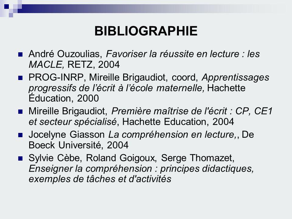 BIBLIOGRAPHIE André Ouzoulias, Favoriser la réussite en lecture : les MACLE, RETZ, 2004.
