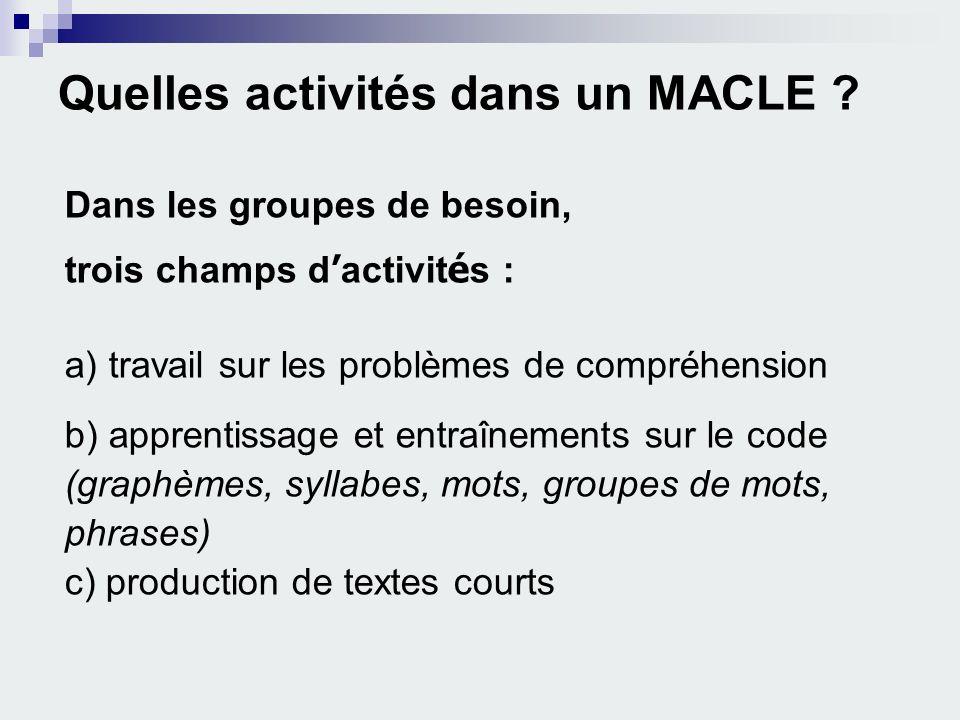 Quelles activités dans un MACLE