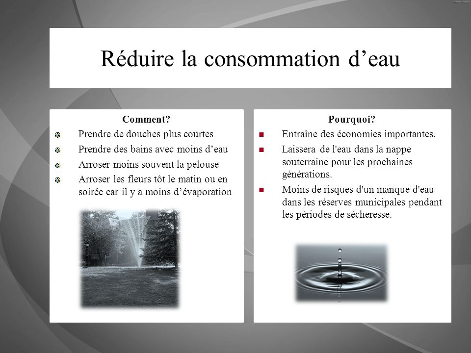 Réduire la consommation d'eau