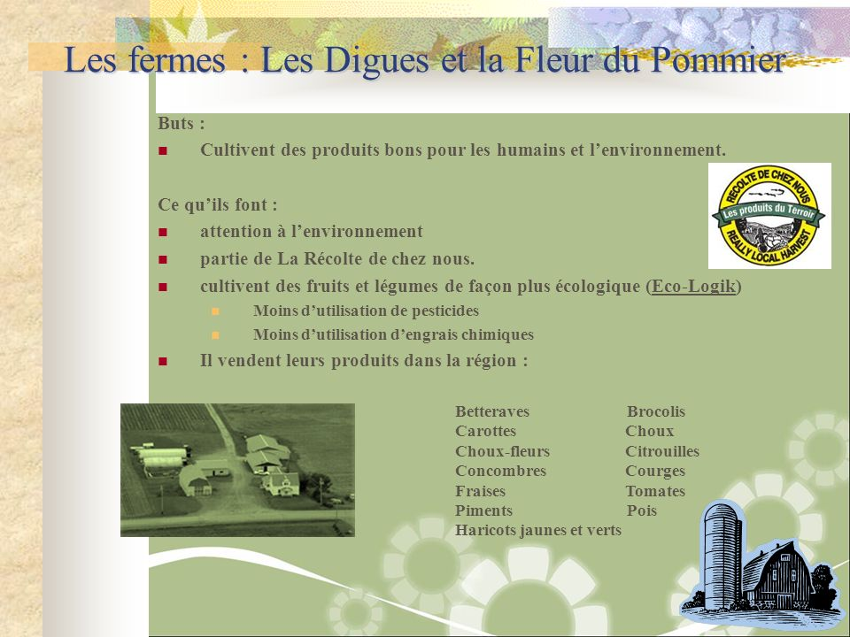 Les fermes : Les Digues et la Fleur du Pommier