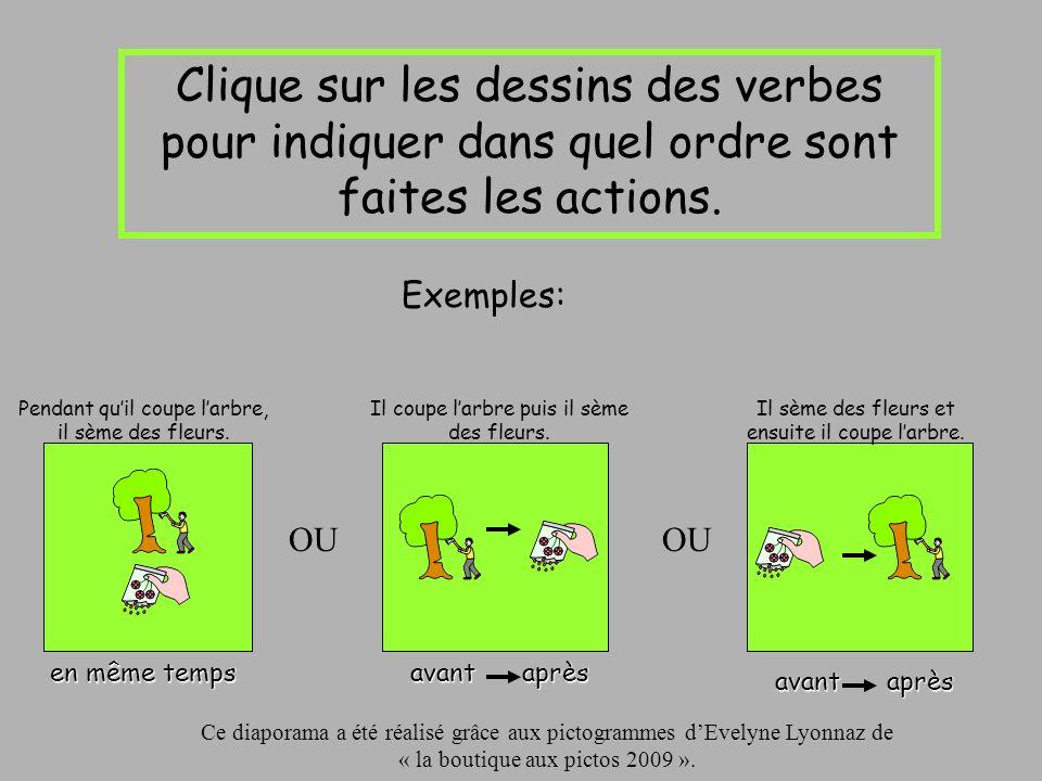 Clique sur les dessins des verbes pour indiquer dans quel ordre sont faites les actions.