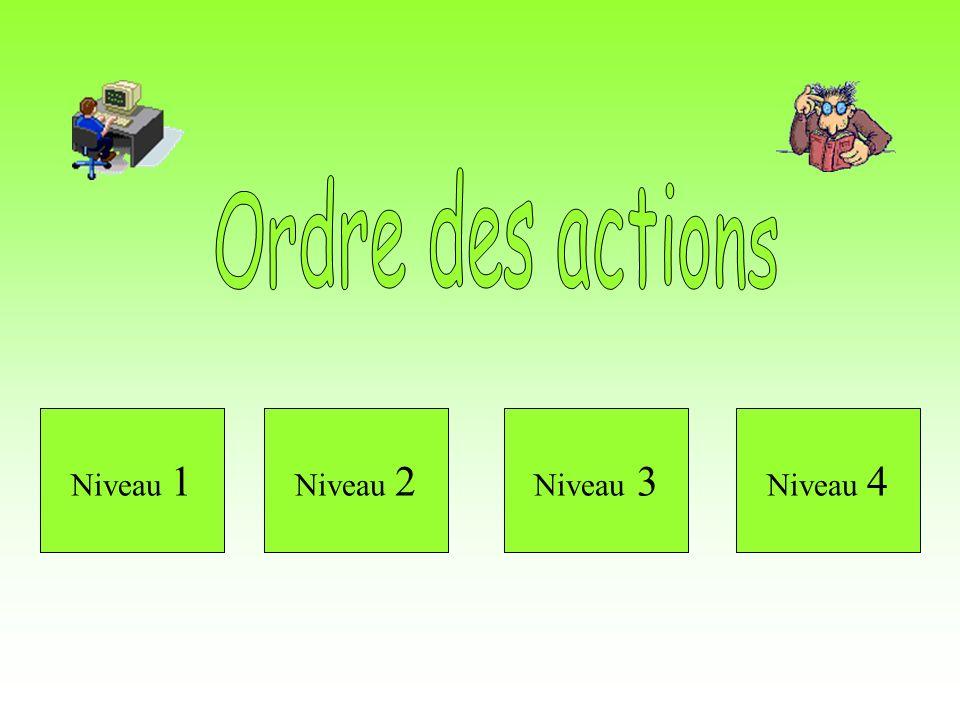 Ordre des actions Niveau 1 Niveau 2 Niveau 3 Niveau 4