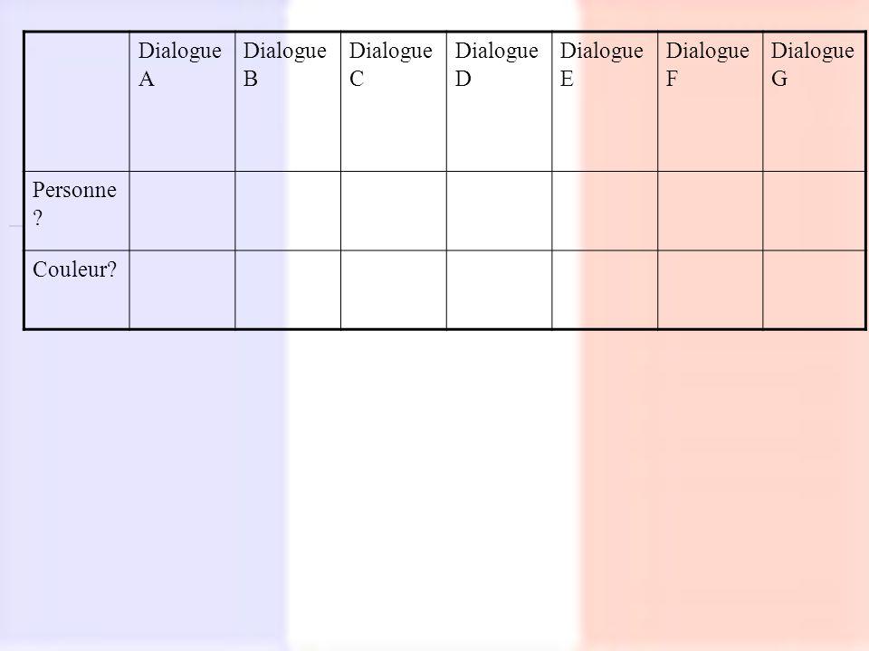 Dialogue A Dialogue B Dialogue C Dialogue D Dialogue E Dialogue F