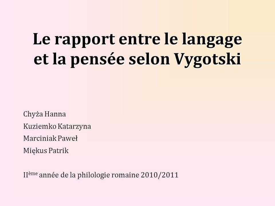 Le rapport entre le langage et la pensée selon Vygotski
