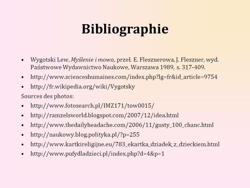 Bibliographie Wygotski Lew, Myślenie i mowa, przeł. E. Flesznerowa, J. Fleszner, wyd. Państwowe Wydawnictwo Naukowe, Warszawa 1989, s. 317-409.