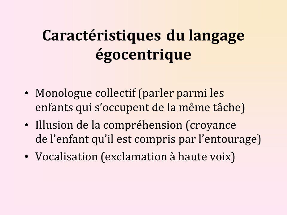 Caractéristiques du langage égocentrique