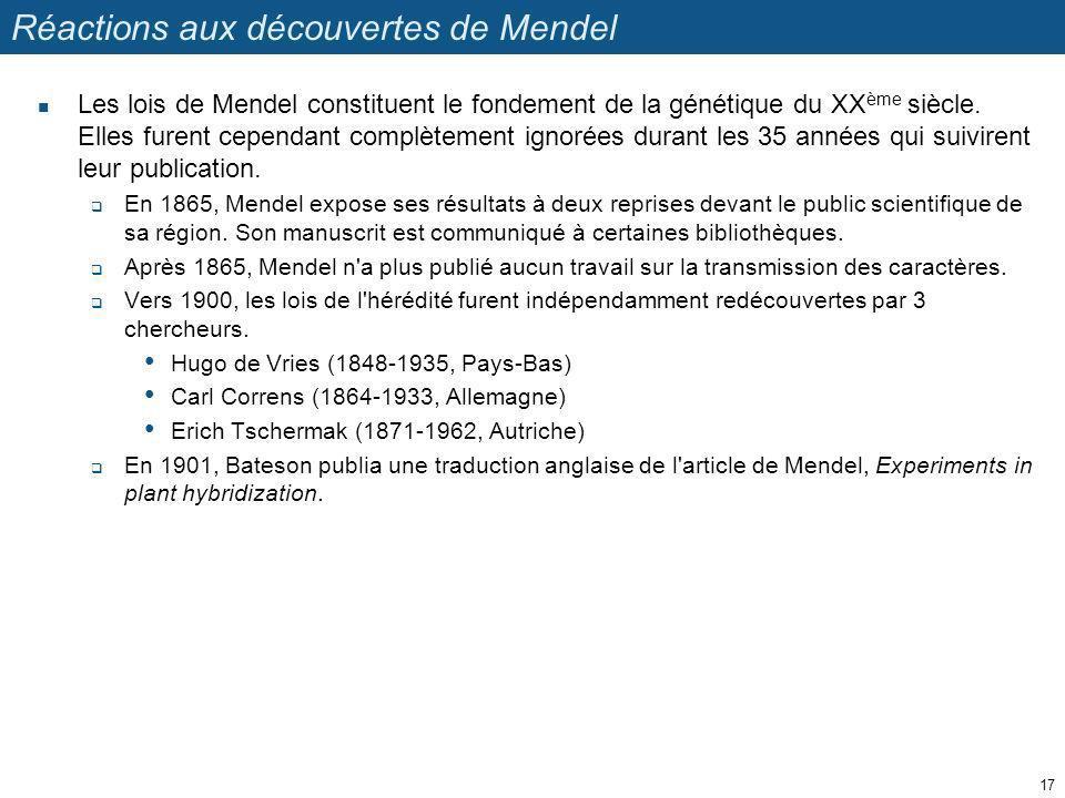 Réactions aux découvertes de Mendel