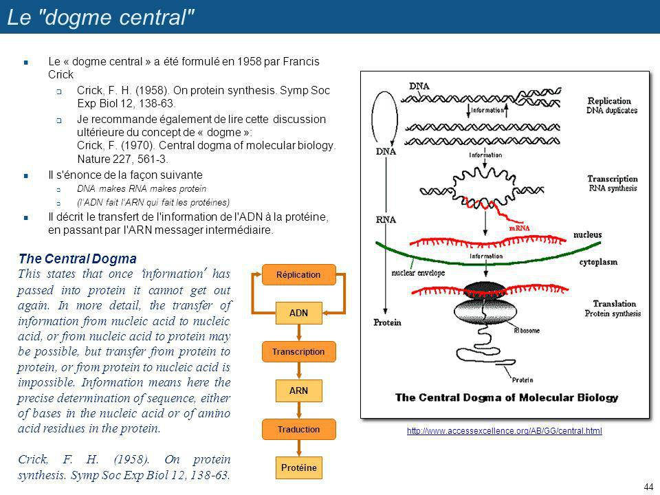 Le dogme central The Central Dogma