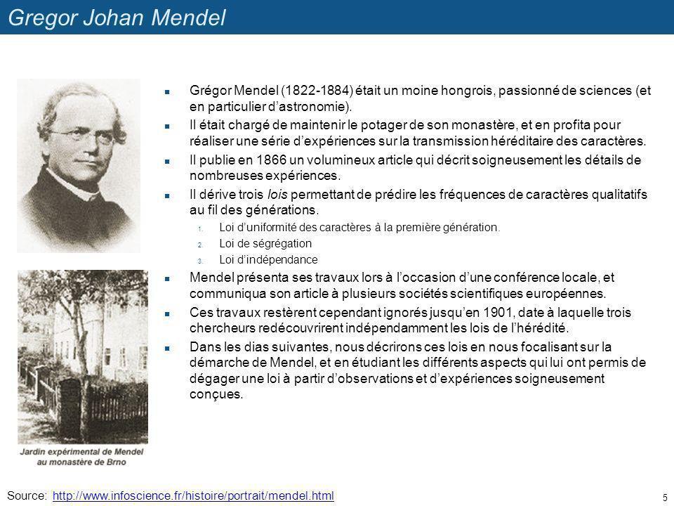 Gregor Johan Mendel Grégor Mendel (1822-1884) était un moine hongrois, passionné de sciences (et en particulier d'astronomie).