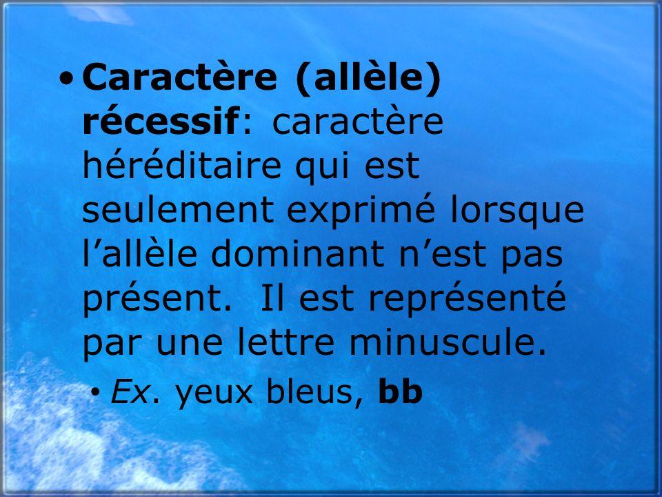 Caractère (allèle) récessif: caractère héréditaire qui est seulement exprimé lorsque l'allèle dominant n'est pas présent. Il est représenté par une lettre minuscule.