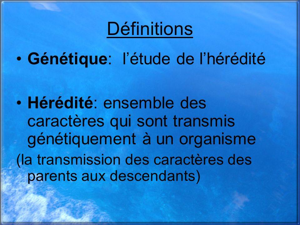 Définitions Génétique: l'étude de l'hérédité