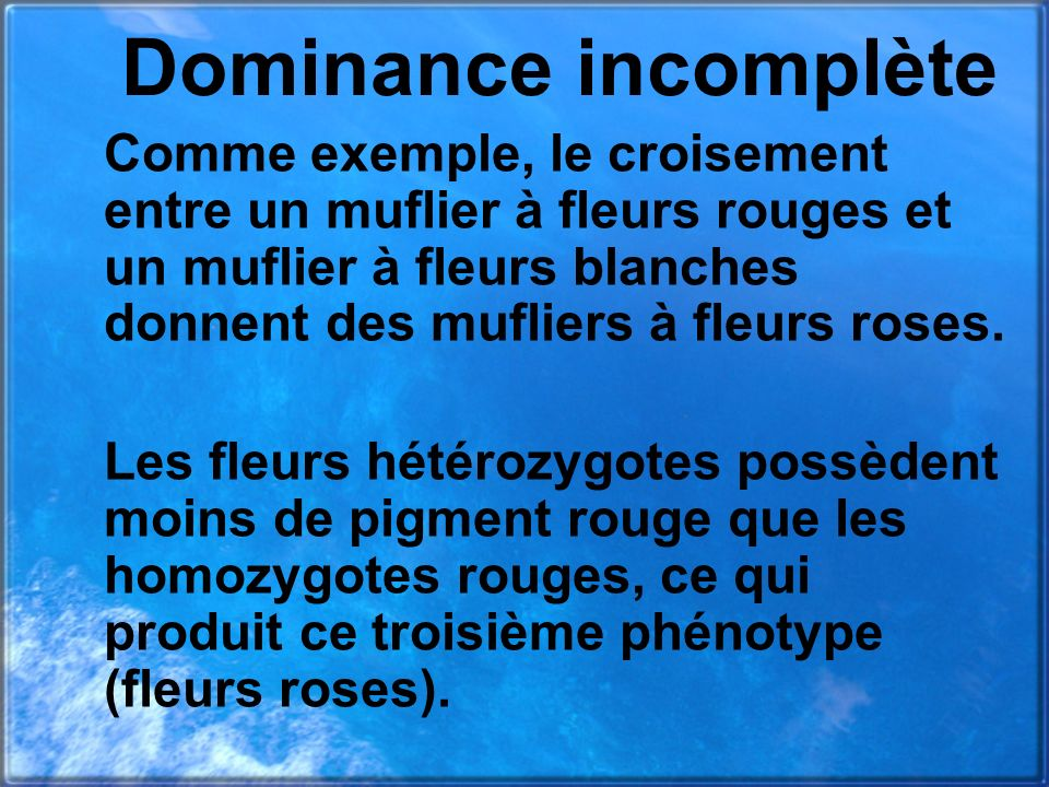 Dominance incomplète
