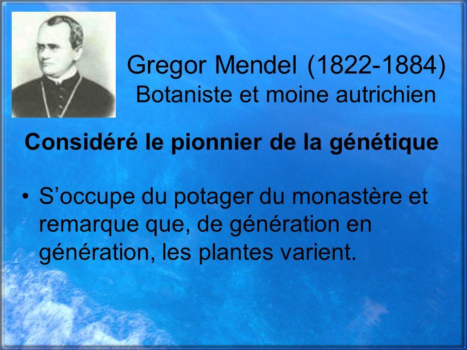 Gregor Mendel (1822-1884) Botaniste et moine autrichien