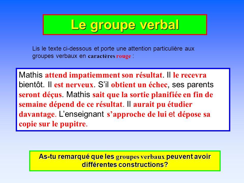Le groupe verbal Lis le texte ci-dessous et porte une attention particulière aux groupes verbaux en caractères rouge :