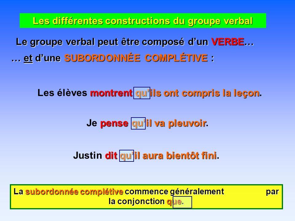 Les différentes constructions du groupe verbal