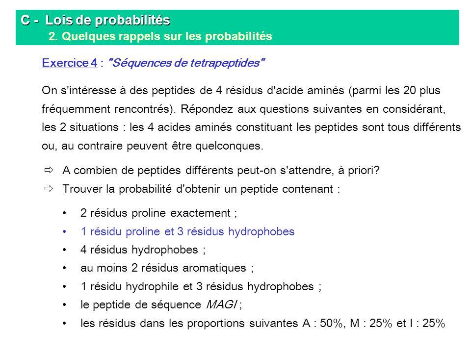 C - Lois de probabilités 2. Quelques rappels sur les probabilités