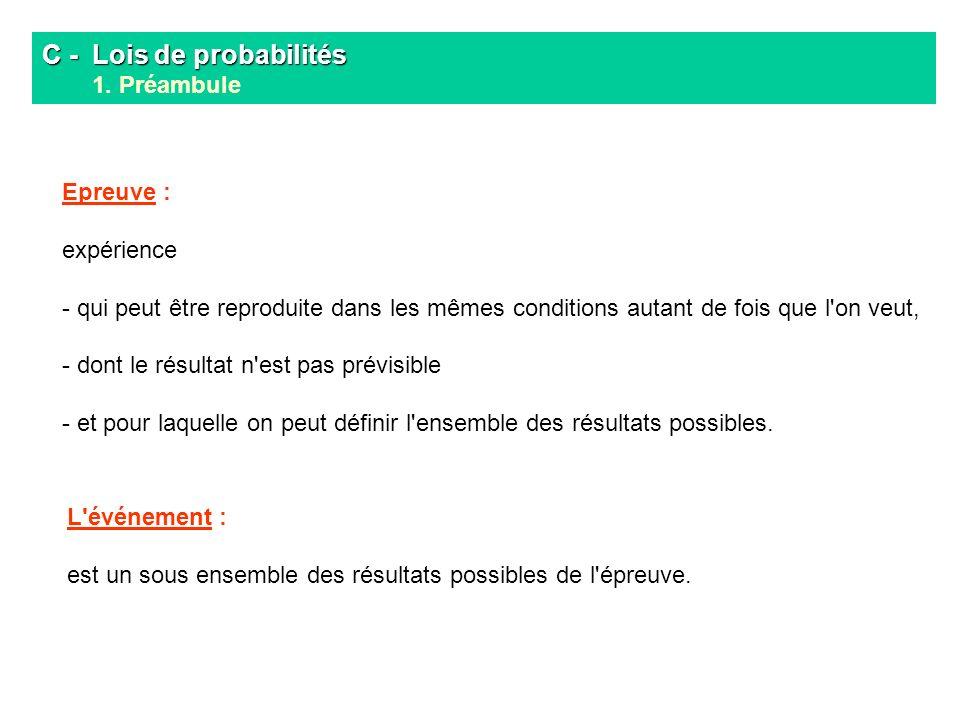 C - Lois de probabilités 1. Préambule
