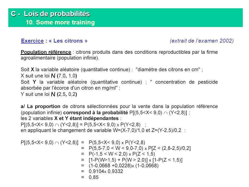 C - Lois de probabilités 10. Some more training