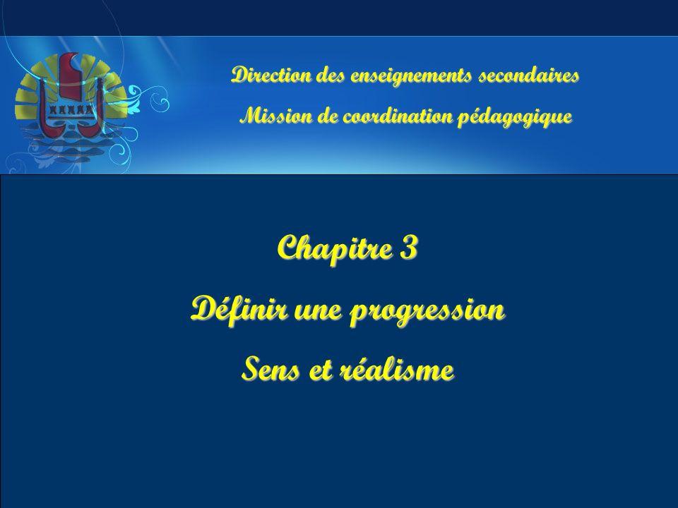 Chapitre 3 Définir une progression Sens et réalisme