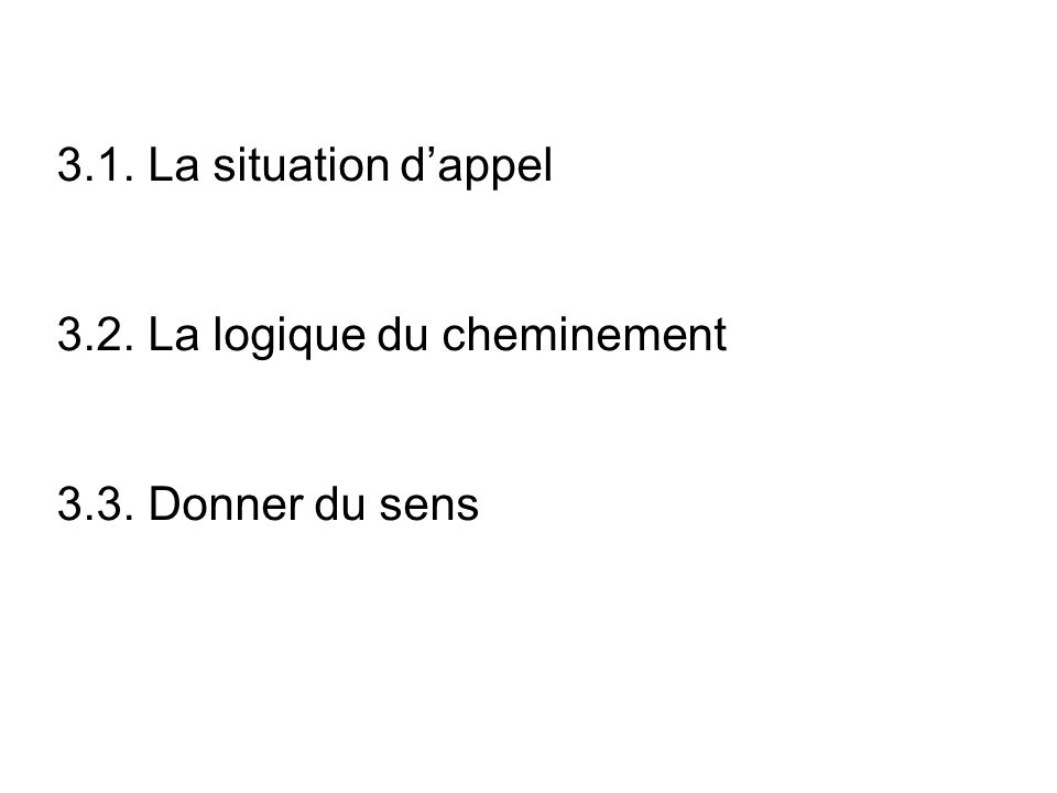 3.1. La situation d'appel 3.2. La logique du cheminement 3.3. Donner du sens
