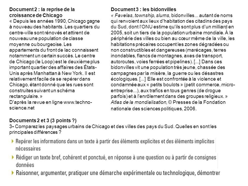Document 2 : la reprise de la croissance de Chicago