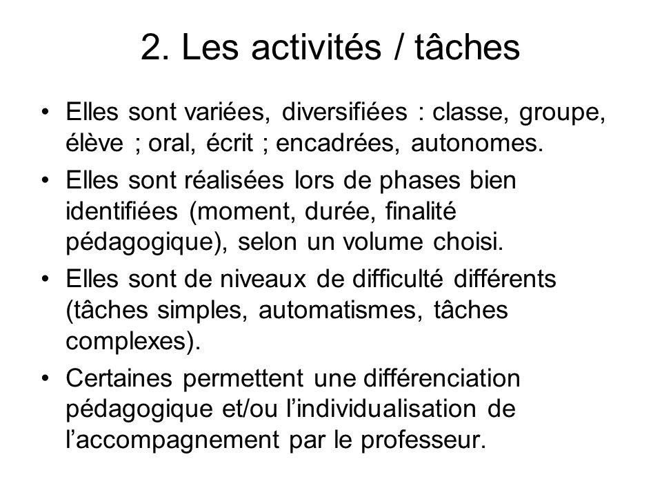 2. Les activités / tâches Elles sont variées, diversifiées : classe, groupe, élève ; oral, écrit ; encadrées, autonomes.