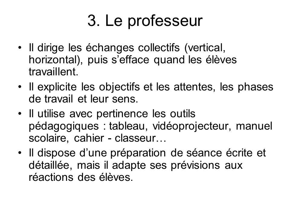 3. Le professeur Il dirige les échanges collectifs (vertical, horizontal), puis s'efface quand les élèves travaillent.