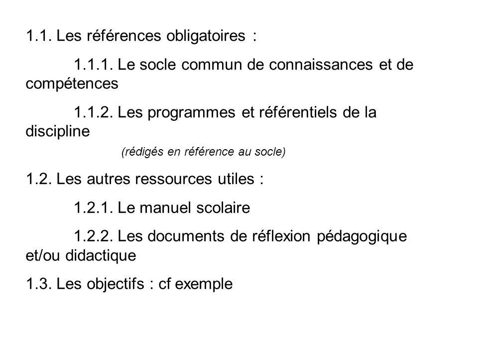 1.1. Les références obligatoires :