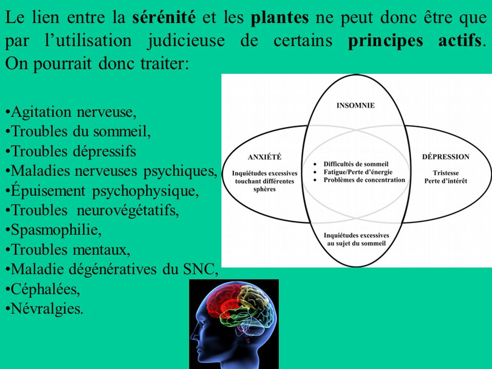 Le lien entre la sérénité et les plantes ne peut donc être que par l'utilisation judicieuse de certains principes actifs. On pourrait donc traiter: