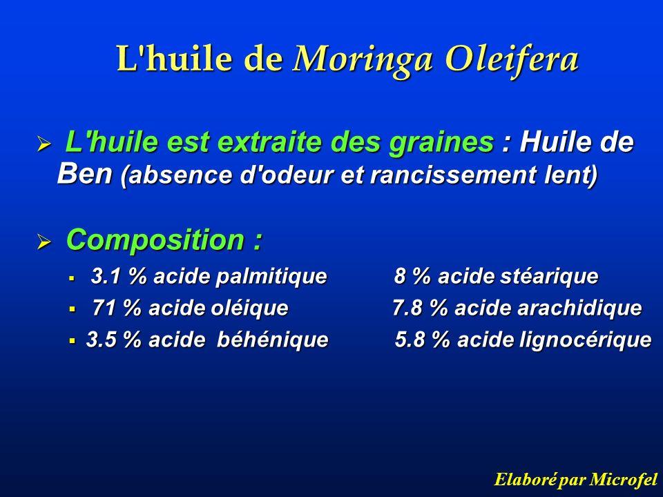 L huile de Moringa Oleifera