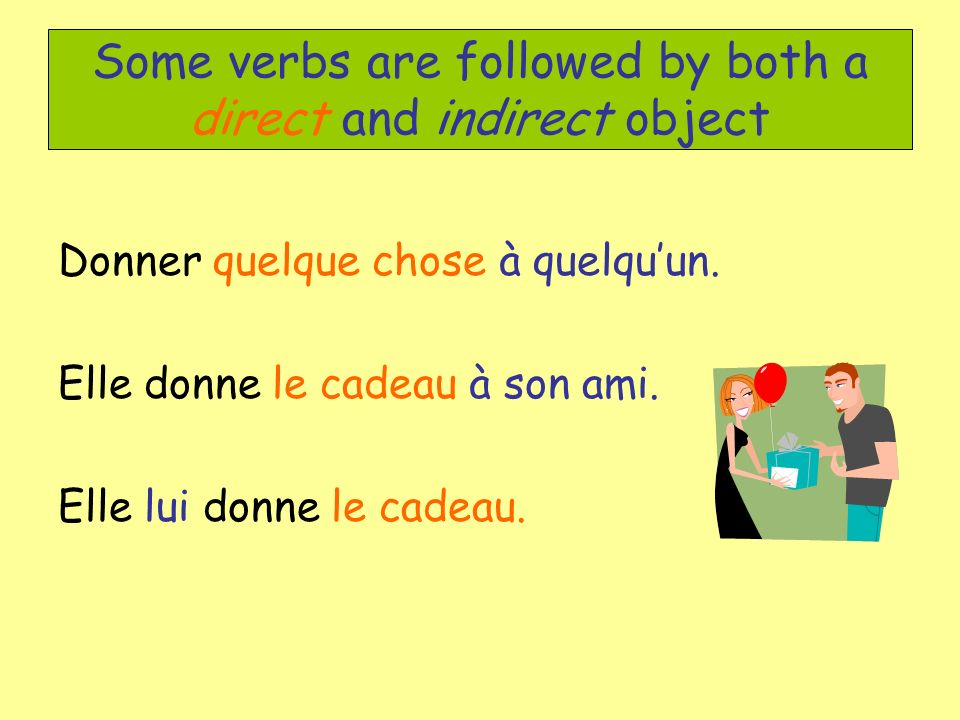Some verbs are followed by both a direct and indirect object