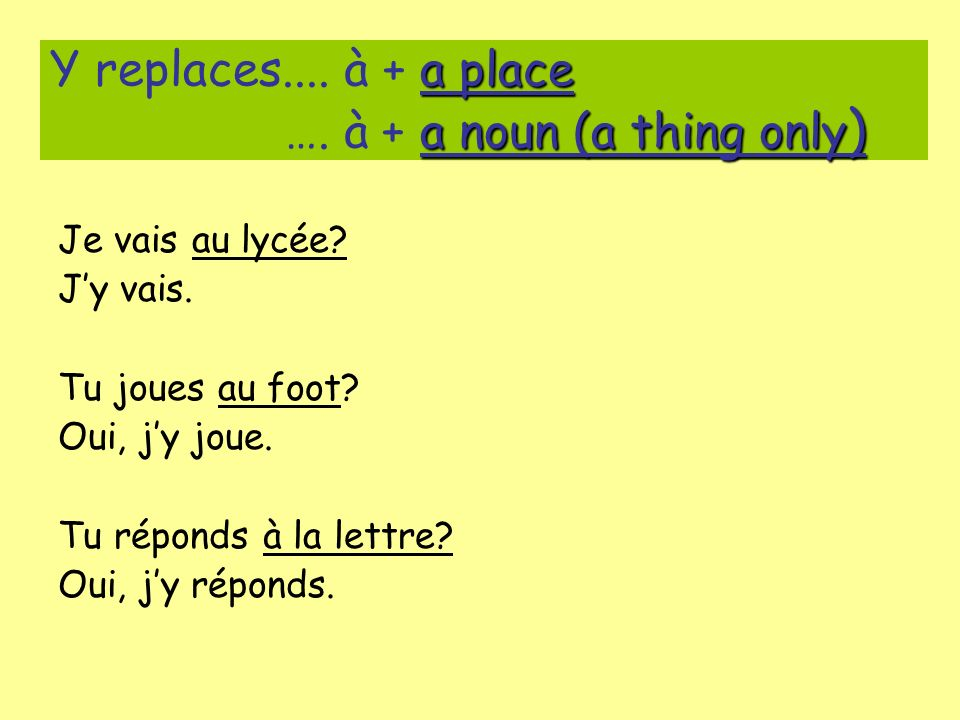 Y replaces.... à + a place …. à + a noun (a thing only)
