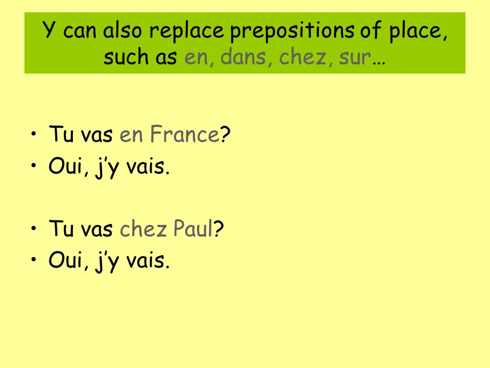 Y can also replace prepositions of place, such as en, dans, chez, sur…