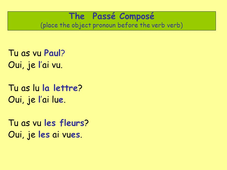 The Passé Composé (place the object pronoun before the verb verb)