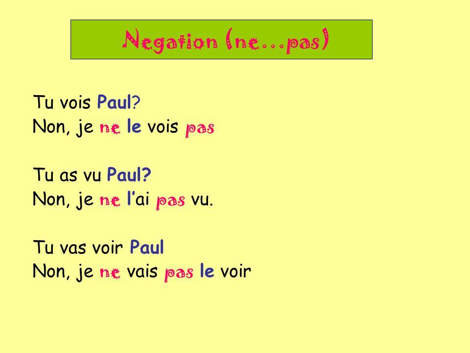 Negation (ne…pas) Tu vois Paul Non, je ne le vois pas Tu as vu Paul