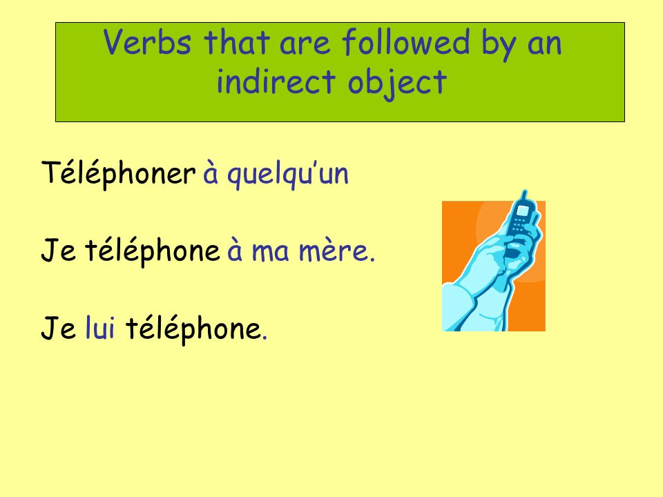 Verbs that are followed by an indirect object