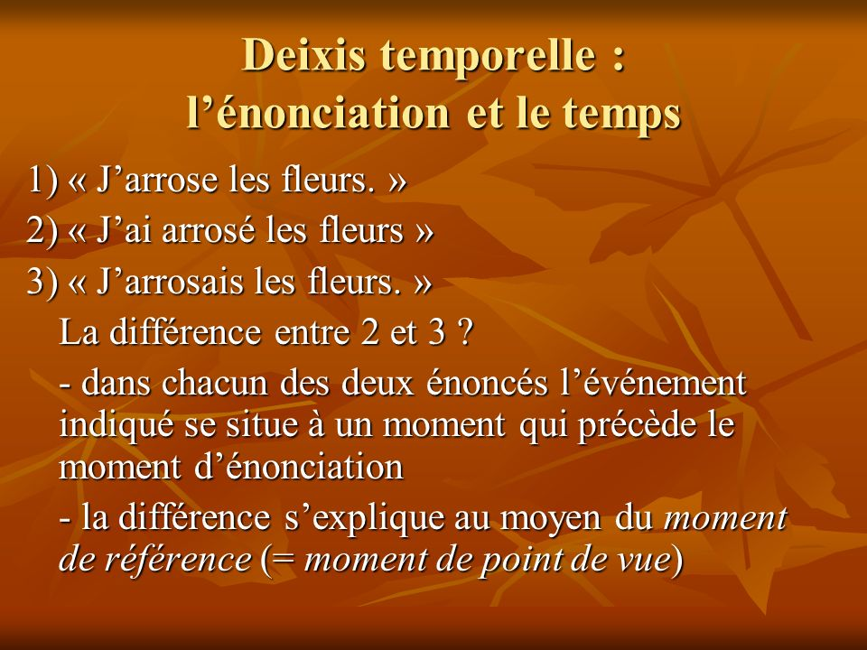Deixis temporelle : l'énonciation et le temps