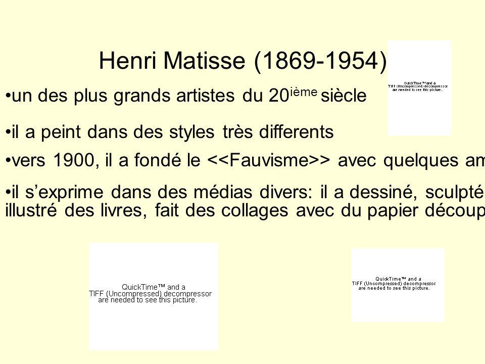 Henri Matisse (1869-1954) un des plus grands artistes du 20ième siècle