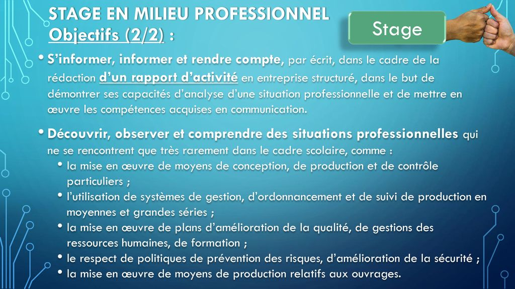 Stage en milieu Professionnel Objectifs (2/2) :