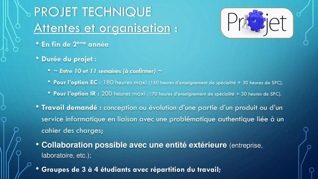 Projet technique Attentes et organisation :