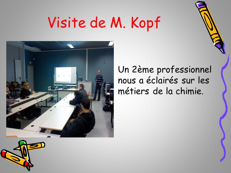 Visite de M. Kopf Un 2ème professionnel nous a éclairés sur les métiers de la chimie.