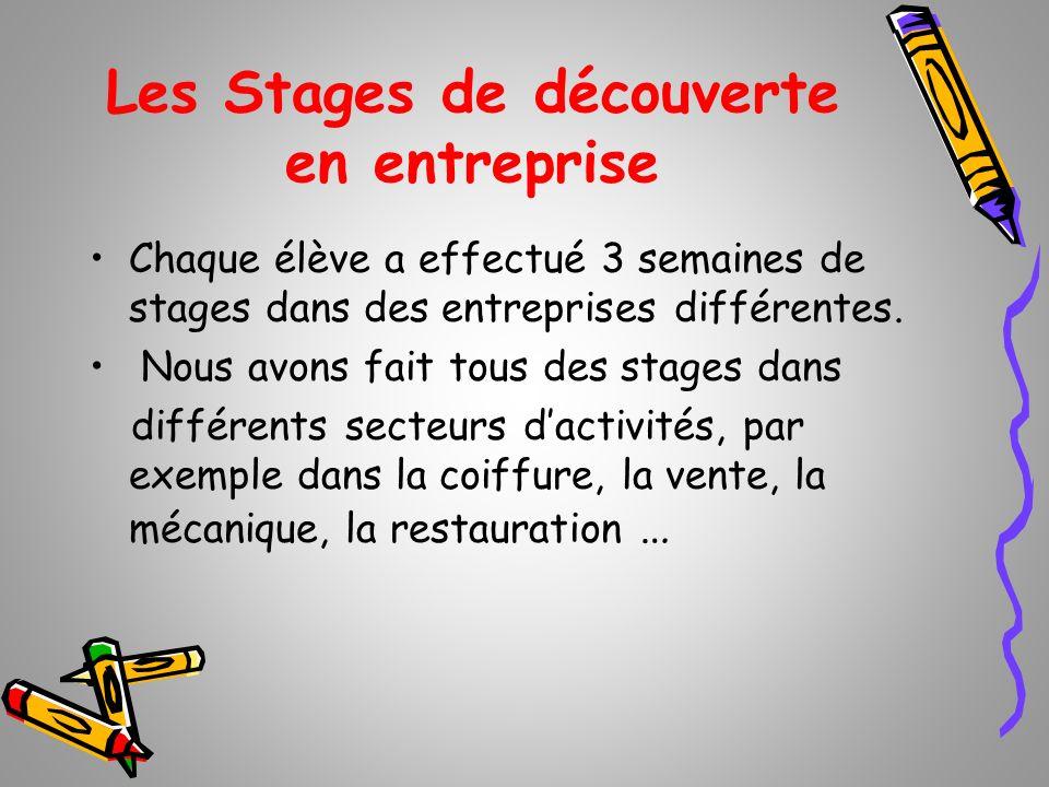 Les Stages de découverte en entreprise