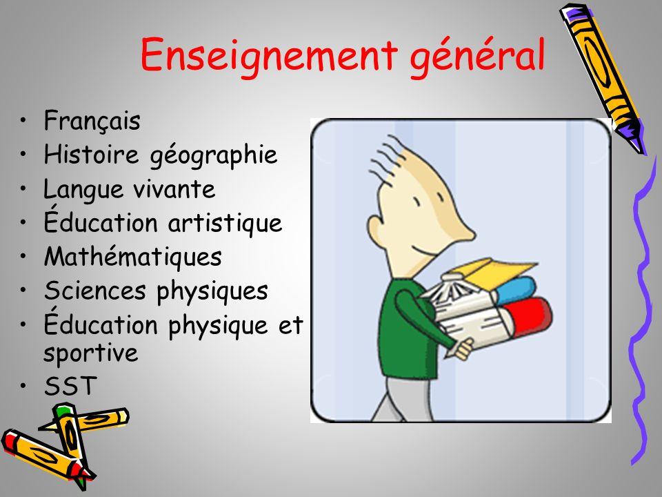 Enseignement général Français Histoire géographie Langue vivante