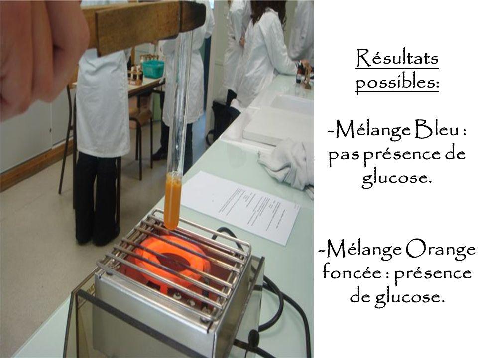 Résultats possibles: -Mélange Bleu : pas présence de glucose