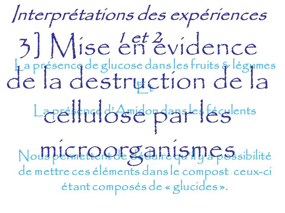 Interprétations des expériences 1 et 2