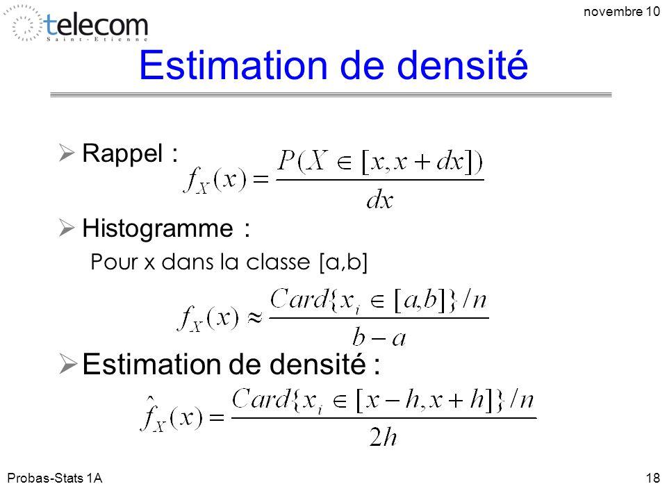 Estimation de densité Estimation de densité : Rappel : Histogramme :