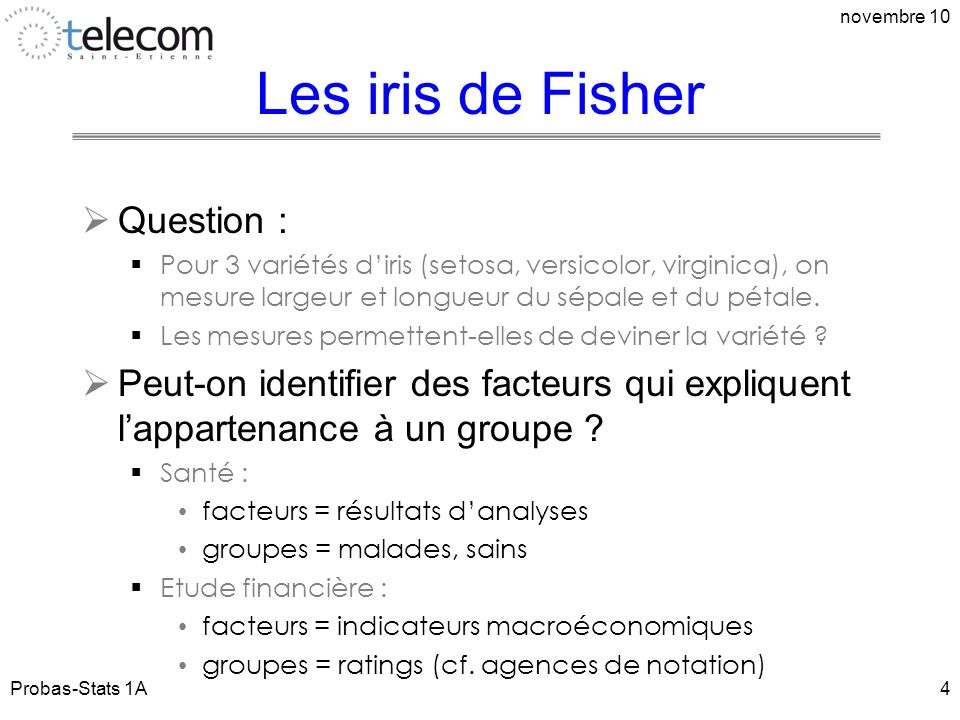 Les iris de Fisher Question :
