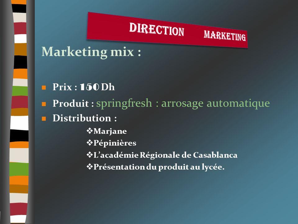 Marketing mix : Direction marketing Prix : 150 Dh